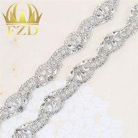 (1 yard) el yapımı Sıcak düzeltme dikmek için Gül Altın Boncuklu Kristal Aplike Rhinestones Dekoratif Trim Gelin Elbise Kanat veya Bantlar