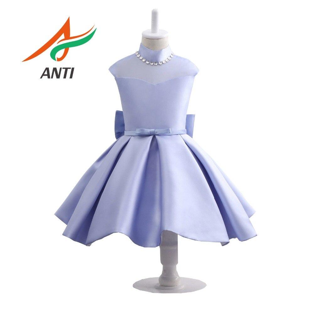 ANTI Elegant Grape Purple Satin   Flower     Girl     Dress   High-Neck Crystal Prom   Dress   With Big Bow Child First Communion   Dress   Custom