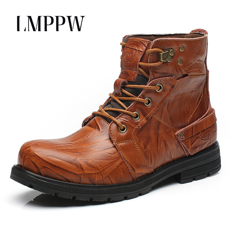 New 2017 Autumn Winter Men Boots Fashion Genuine Leather Ankle Boots High Quality Luxury Brand Men Motorcycle Casual Boots Shoes grimentin men boots leather winter brand italian genuine leather mens shoes slip on fashion ankle male boots shoes men luxury