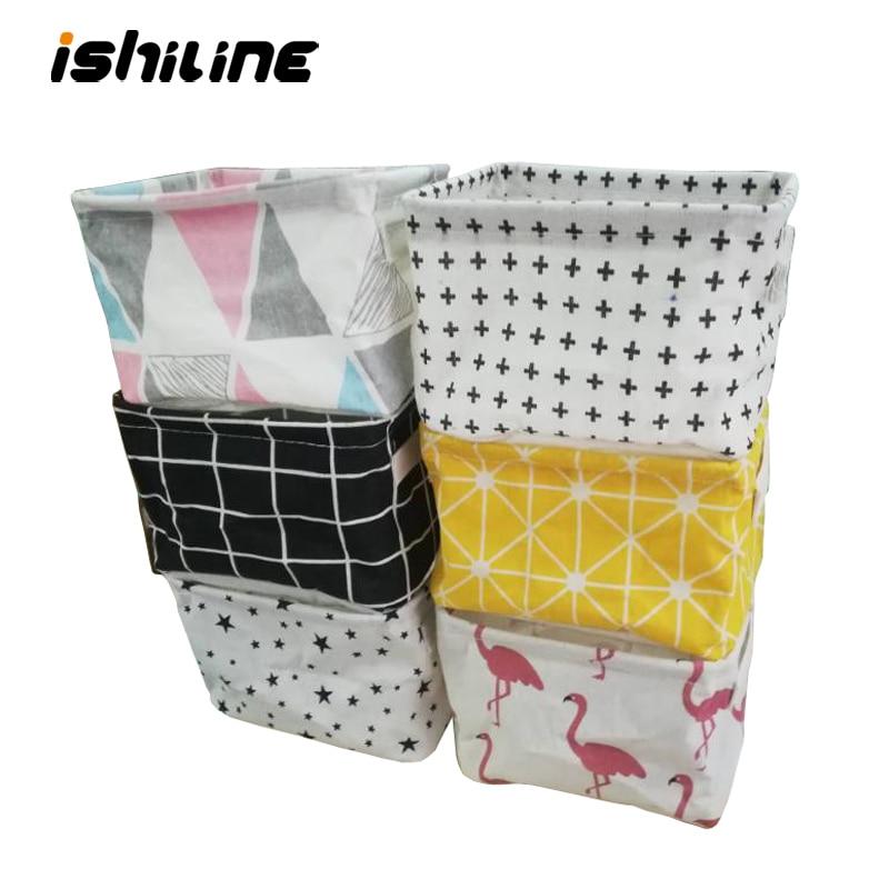 Desktop Storage Box Cute Printing Waterproof Organizer Cotton Linen Sundries Storage Basket Cabinet Underwear Storage Bag