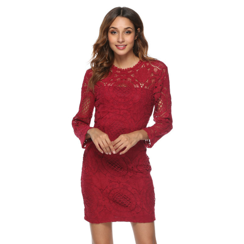MUXU red lace dress vestido sexy backless long sleeve pencil dress women clothing short dresses bodycon jurken vestidos clothes in Dresses from Women 39 s Clothing