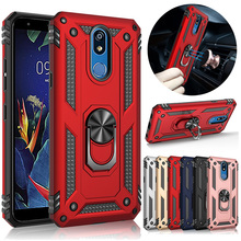 For LG K40 Case Dual Layer Military Armor Magnetic Ring Stand Shockproof Hard Back Cover