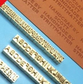 6mm de haut en laiton cuivre alphabets moules 52 pièces boîtier supérieur + boîtier inférieur + support à pince, logo de timbre feuille chaude sur bois, cuir, papier