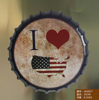 DIA35CM Large Size Metal Beer Cap Shape Tin Sign Heavy Duty Vintage I love USA Paintings Plaque Coffee & Pub Decoration