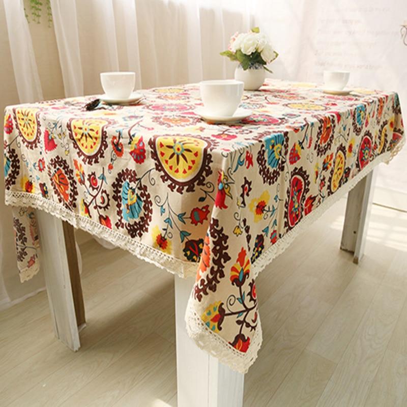 순수한 린넨면 테이블 천으로 커피 차 테이블 해바라기 보헤미아 꽃 꽃 유럽 미국의 현대적인 스타일 거래 무료 배송