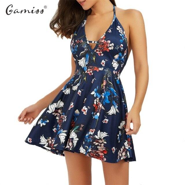 Gamiss 2017 Fashion Floral Print Halter Women Short Dress Deep V-neck  Backless Sexy Beach Summer Mini Skater Dresses vestidos d6d35a9e2