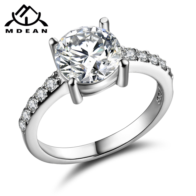 MDEAN Round White Gold Color Wedding Rings For Women AAA Zircon Micro Paved Wome