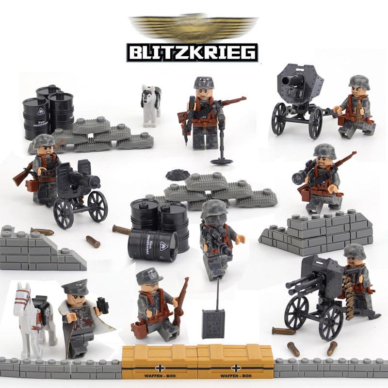 ФОТО 4pcs world war 2 military series german blitzkrieg assault model building blocks army minifigures bricks for collection