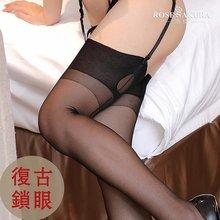 b348fbd19 Fully fashioned Keyhole 15D Womens seamed Retro Cuban heel back striped black  stockings