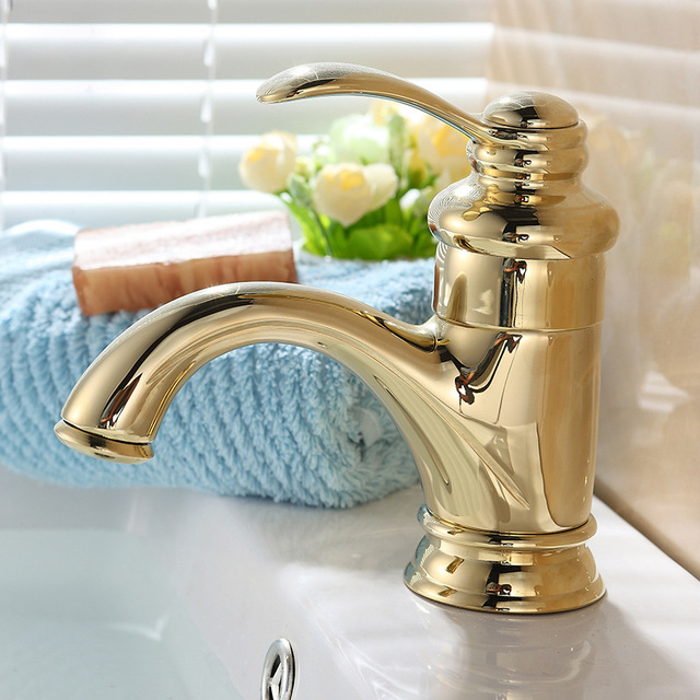 Solid Br Gold Plated Water Tap Bathroom Faucet Single Hole Sink Torneira