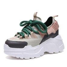 Обувь для женщин 2018 Зима Осень Новые кроссовки на платформе tenis feminino повседневные массивные Сникерсы женские сникерсы на шнуровке для папы