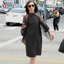 Женское черное платье-рубашка, женские милые платья-миди большого размера с рукавом-сеткой 3/4 с вышивкой и бахромой для вечеринки и клуба, платья 3398