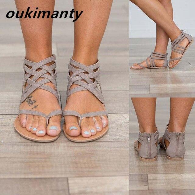 d5bda300e sexy women sandals fashion gladiator flat sandals women summer shoes woman  slip on best quality black gray  Y0617319Q