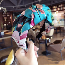 Top Fashion Women Bohemian Pretty Nagy Virág Nyomtat Knot Hairbands Vintage Széles Bowknot Headwraps Satin Cross Headbands