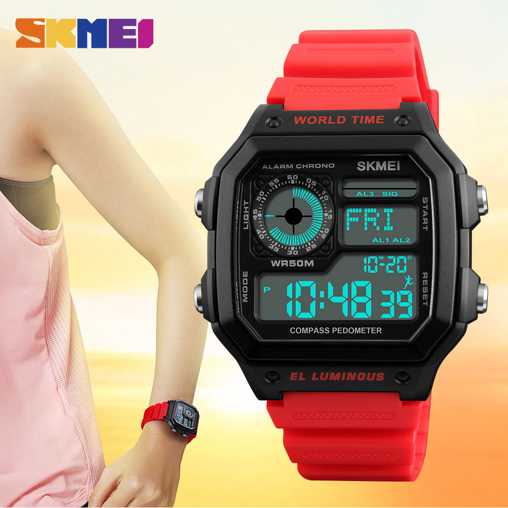 Active Zk30 Led Sport Leisure Digital World Time Men Compass Watches Waterproof Watch Calorie Time 2time Wristwatch Relogio Masculino Watches