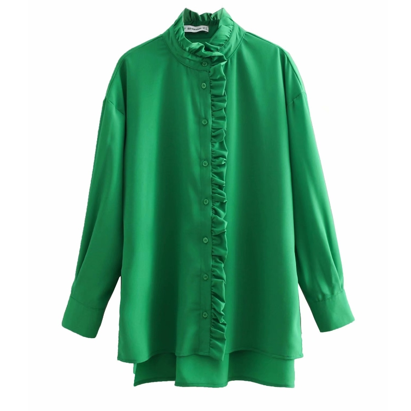 new women fashion solid color ruffled casual smock   blouses     shirt   women long sleeve green roupas femininas chemise   shirts
