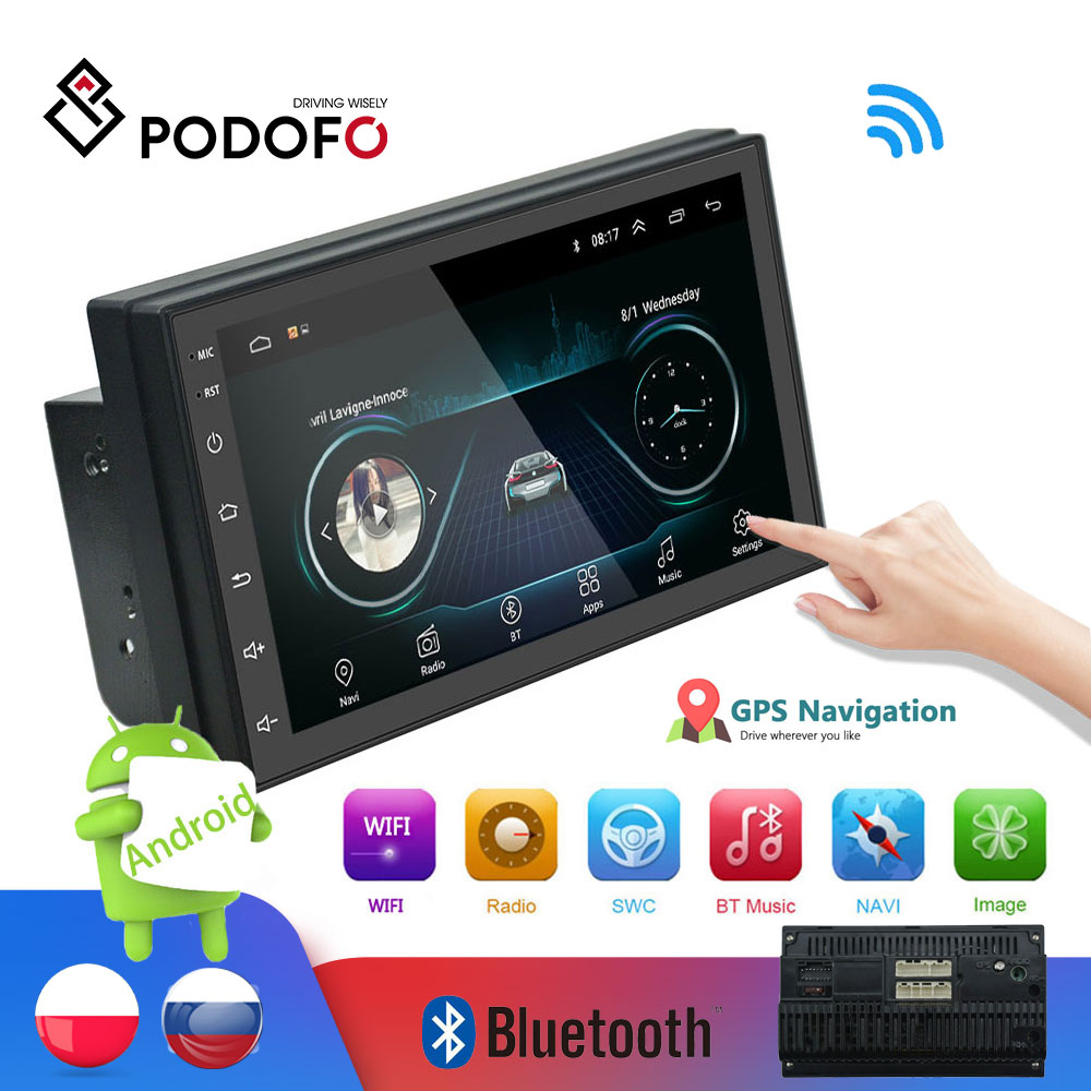 Podofo 2din Auto Radio Android multimedia player Autoradio <font><b>2</b></font> Din 7'' touchscreen GPS WIFI <font><b>Bluetooth</b></font> FM auto audio-player stereo image