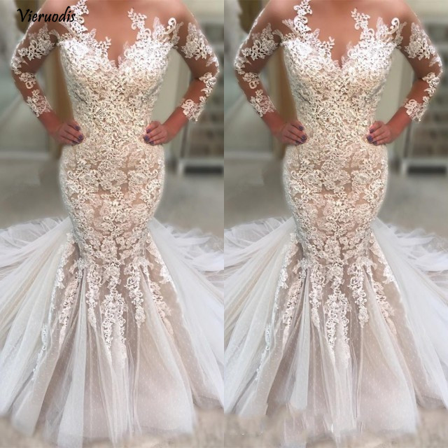 109-1         Appliqued Lace Tulle Wedding Dresses Long Sleeve Sweep Train vestidos de novia 2019 Mermaid Wedding Gown