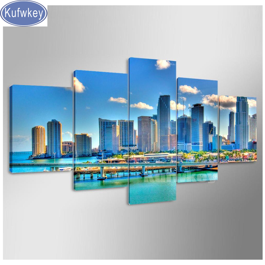 5d diy Diamond Painting 5 pcs Miami Florida City Downtown Scenery Mosaic 3d Embroidery parlour Pictures