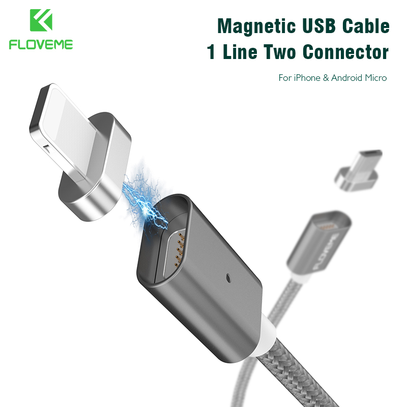 FLOVEME Magnetic USB Cable Upgraded 1 Line 2 USB For iPhone 7 6 6S Plus 5 5S SE Cables Micro USB For Samsung S7 S6 Huawei Xiaomi