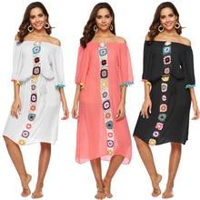 Cover Up Swimsuit Summer Beach Dress Long Tunic Pareo Women Coverup Irregular Crochet Stitching Belt Patchwork Acetate