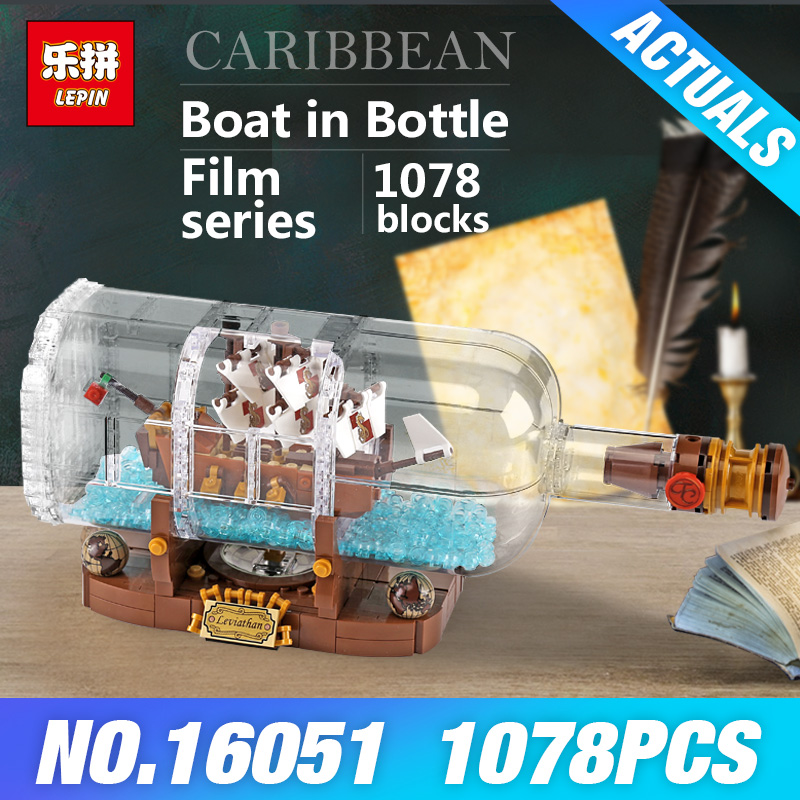 Lepin 16051 Movie Series The 21313 Ship in a Bottle Set Pirates of the Caribbean Building Blocks Bricks Toys Kids Birthday Gifts lepin 16051 1078pcs movie series the 21313 pirate ship in a bottle set building blocks bricks toys birthday gifts