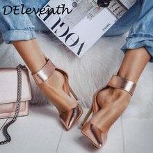 Woman Wedding Shoes Zipper Pointed Toe Thin Heels Classic Heeled Sandals 12cm Ladies Gold Platform Hollow Pumps Sandals Gold 8.5
