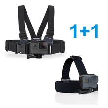 TELESIN Adjustable Head Strap + Chest Strap Mount Harness Belt for GoPro Hero 2 3 4 5 6 SJCAM EKEN Xiaomi YI 4K Accessories