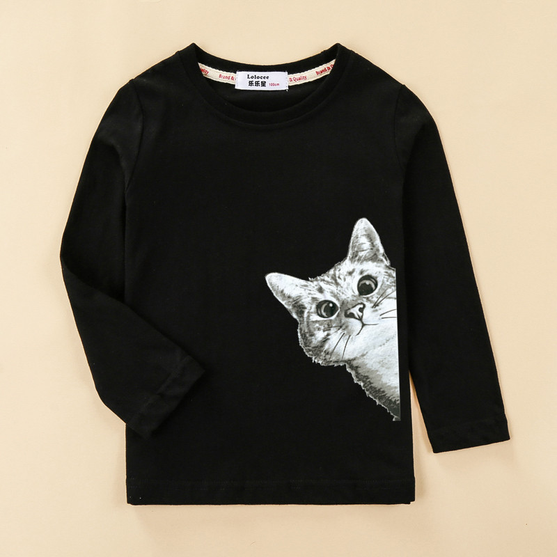 kitten shirt Children's t-shirt girl cotton long-sleeved clothes fashion autumn winter tops baby girl tees 1