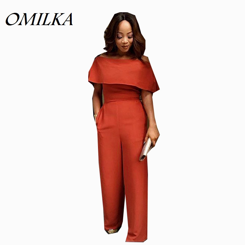 OMILKA Ruffle Jumpsuits 2017 Women Sleeveless Sexy Orange Blue Black Club Party Off the Shoulder Wide Leg Romers and Jumpsuits ...
