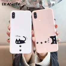 цена на Cute Black Cat Case Cover For iPhone X XS MAX XR 6 6s 7 8 Plus 6sPlus Soft Silicone white and pink Cell Phone Bag Capa Case