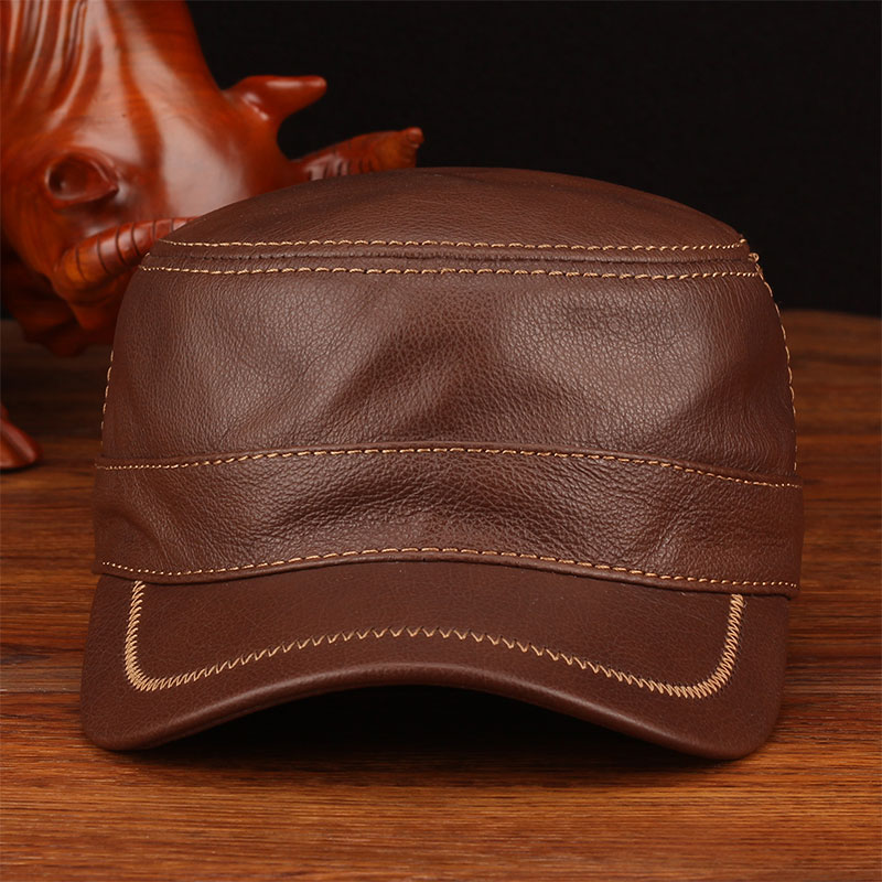 HL175 2018 Spring fashion genuine cow leather baseball cap hat Mens brand new style