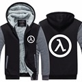 Mens Hoodie FPS Game Thicken Fleece Half Life Winter Coat US EU Plus Size