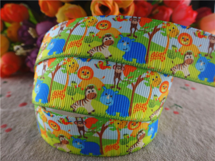 16010150, new arrival 78'' (22mm) 50 yards animals printed grosgrain ribbons animal ribbon hair accessories