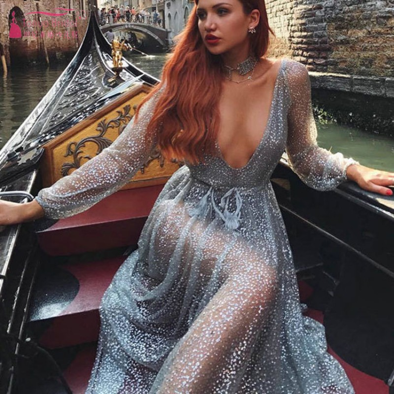 Explosion Hot Sale   Prom     Dresses   2019 Drilling Sequin Sexy Perspective Deep V Night club long-sleeved Formal Evening Gown DQG724