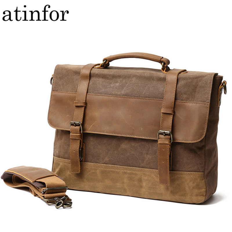 Vintage Oil Wax Genuine Leather with Canvas Briefcases Men Waterproof Shoulder Bag Laptop Messenger Bags for WomenVintage Oil Wax Genuine Leather with Canvas Briefcases Men Waterproof Shoulder Bag Laptop Messenger Bags for Women