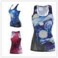 NUEVA tank tops verano de las mujeres Estrella Azul/rojo Estrella chaleco 3D Las Mujeres de impresión digital casual estiramiento de la envoltura delgada sexy chaleco de la muchacha clothing