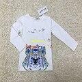 2016 nuevo otoño moda infantil niños bebé niños niñas imprimir tiger camiseta blanco casual tops tee ropa de algodón suave