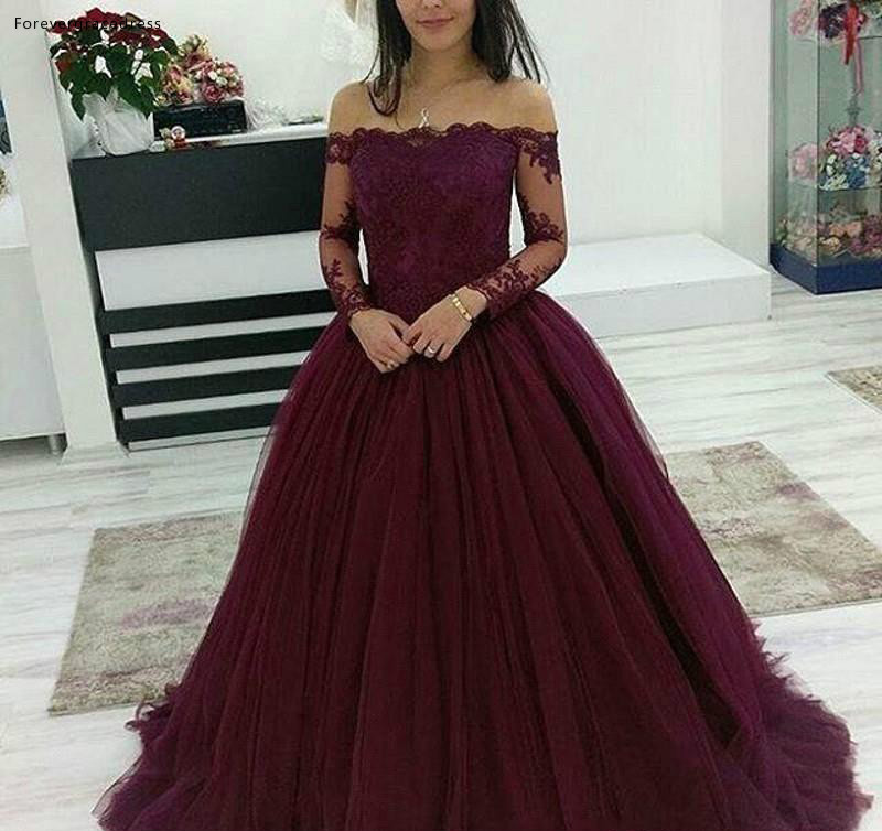 Burgundy Ball Gown Quinceanera Dresses 2019 New Off Shoulder Tulle Appliques Sweet 16 Girls Prom Party Pageant Gowns Plus Size