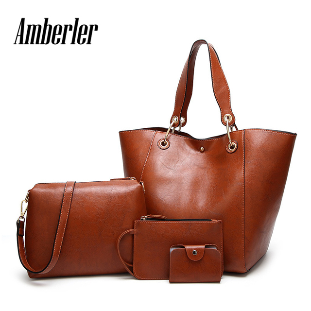 fad2bdb78270 US $29.98 47% OFF|Amberler Large Capacity Oil Wax PU Leather Handbags Women  Shoulder Bag Fashion 4 Pieces Set Crossbody Bags For Women Tote Bags -in ...