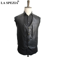 LA SPEZIA Brand Genuine Leather Vest Man Jacket Black Sheepskin Vest Plus Size Waistcoat Male Sleeveless Motorcycle Jacket