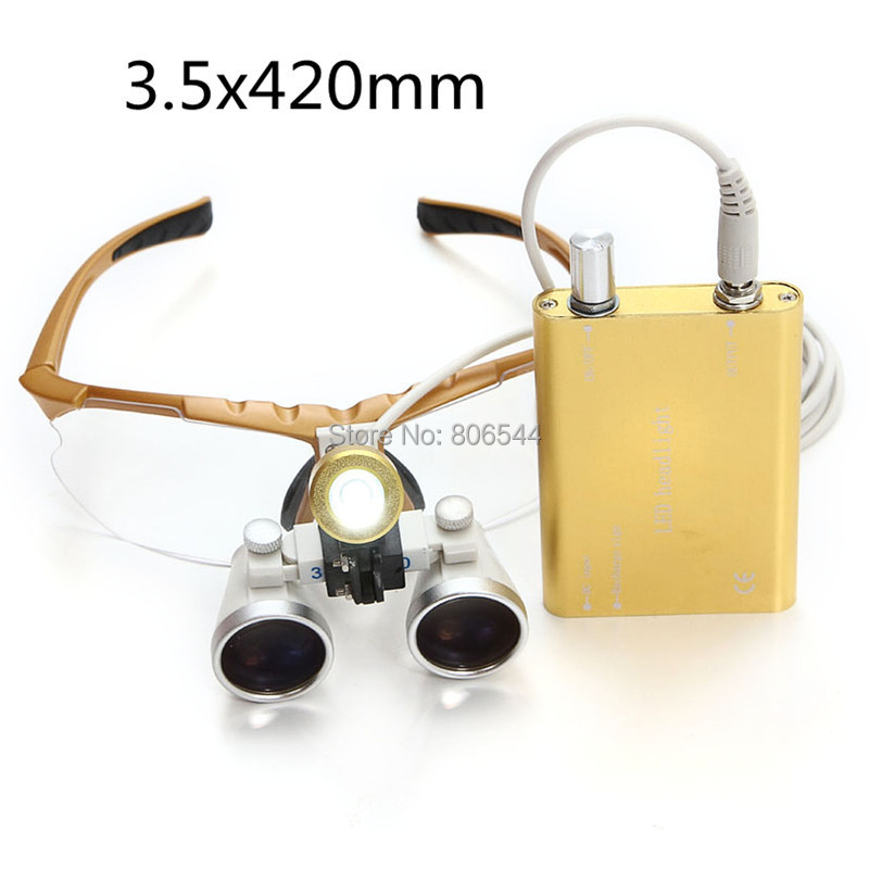3.5X420mm Portable Yellow Dentist Surgical Medical Binocular Dental Loupe Optical Glass with LED Head Light Lamp Gold