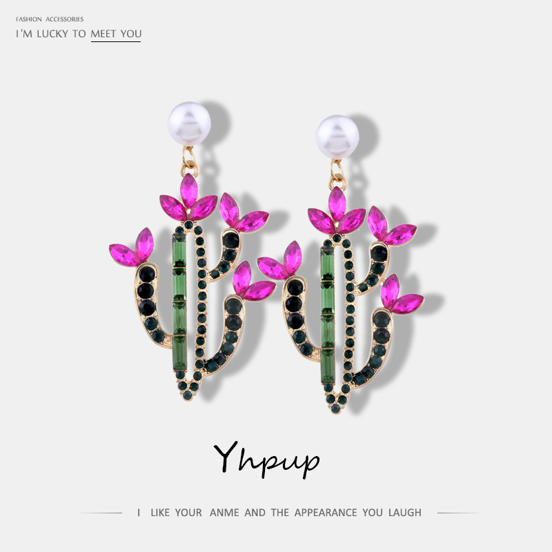 Yhpup New Colorful Crystal Pearl Dangle Earrings For Women Party Statement Cute Elegant Trendy Earrings Jewelry Brincos