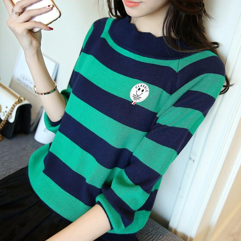 -2017 nueva primavera raya nueve de punto camisa de manga suéter flojo hembra ch