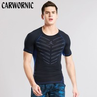 CARWORNIC Compression Shirt Men Short Sleeve Gyms Tshirt Workout Breathable Quick Drying Shirts Men Jogging Fitness Clothing