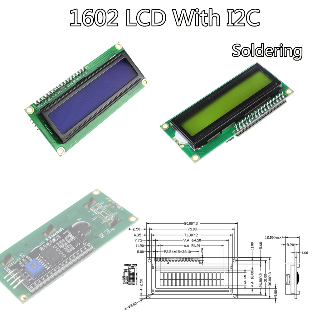 LCD Module Blue / Yellow Green Screen IIC/I2C 1602 For Arduino 1602 LCD UNO R3 Mega2560