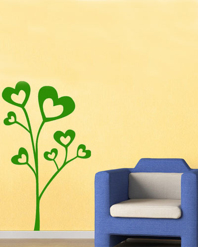 Hot Sale Item Lovely Heart Shaped Leaves Tree Wall Sticker Home Decoration Wall Art China