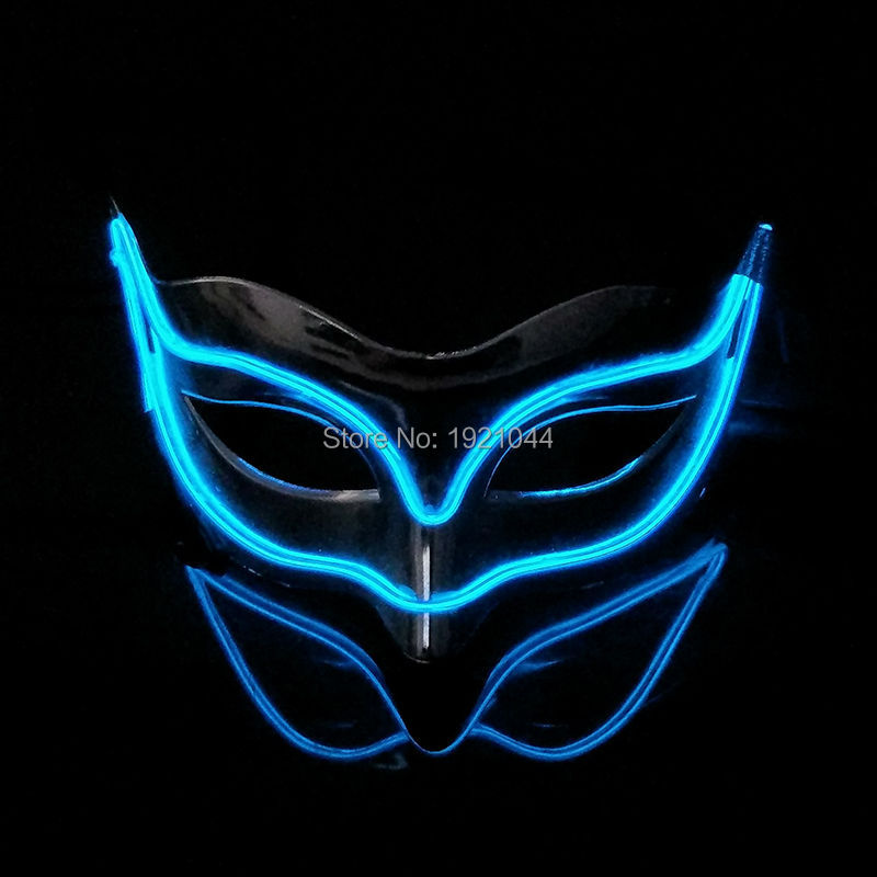 DC-3V Sound activated Cheap Wholesale 100pcs EL Wire Fox Mask Funny luminous Glowing Mask for Halloween Party Supplies