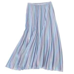Image 5 - 2019 Autumn  New Arrival Korean Style Rainbow Laser Design Sense Gradient Chiffon Skirt Vintage Pleated Skirt Free Shipping