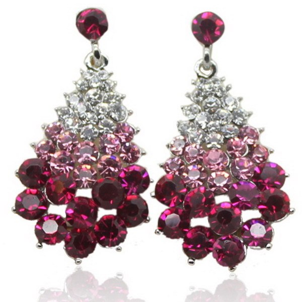 Christmas Tree Shaped Crystal Earrings